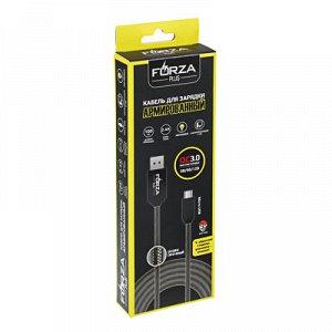 С FORZA Кабель для зарядки Micro-USB, Армированный, с LED подсветкой, 1м, 2.4А, Быстрая зарядка QC3.0