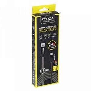 С FORZA Кабель для зарядки iP, Армированный, с LED подсветкой, 1м, 2.4А, Быстрая зарядка QC3.0