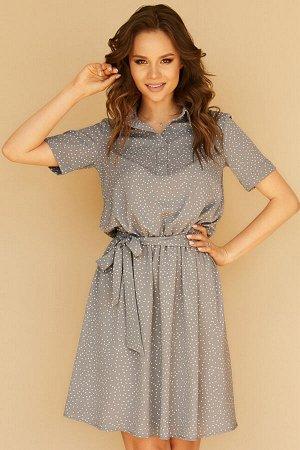 Платье 489/2, стальной/мелкий горох