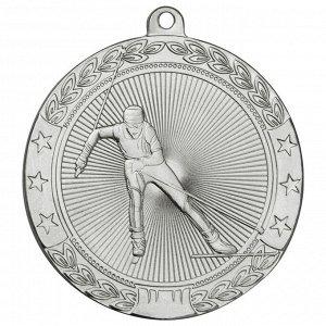 Медаль лыжи 50 мм серебро DC#MK185b