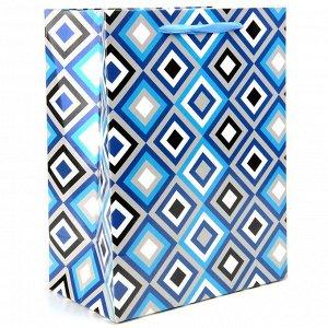 Пакет подарочный ламинированный синий 2диз 178X229X98мм арт.63895