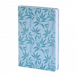 Ежедневник недатированный голубой, А5, 160л., интегр. Leaves AZ85...