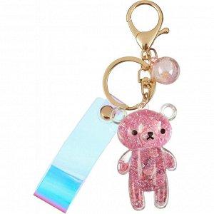 Брелок Мишка стекло розовый 6x4 см