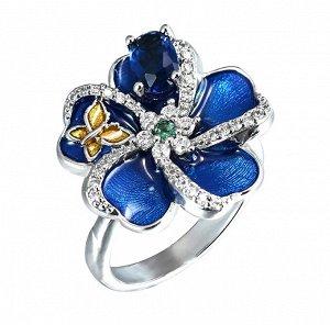 Кольцо Покрытие серебро 925, фианиты, эмаль