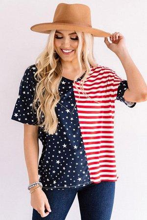 Сине-красная свободная футболка в белую полоску со звездным принтом