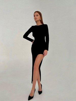 Нарядное женское платье миди ассиметричное с вырезом на спине черный