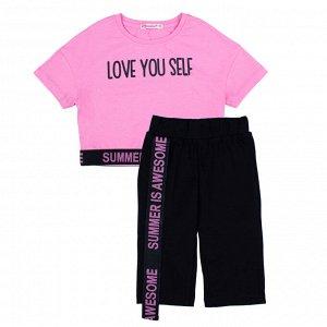 Комплект для девочки (Футболка,бриджи)  розовый