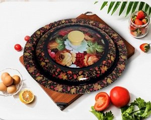 Блюдо металлическое с крышкой, 30 см