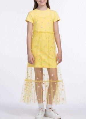 Платье Стильный комплект 2 в 1, состоящий из платья-футболки и удлиненного сарафана. Платье выполнено из трикотажа с повышенным содержанием хлопка, что обеспечивает хорошую воздухопроницаемость, а сар