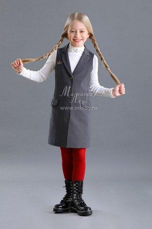 Сарафан Ткань: трикотаж костюмный Состав: 65%вискоза, 32%полиамид, 3%эластан; Подкладка: 60%вискоза, 40%полиамид Модный сарафан-жакет без рукавов для девочки. Отложной воротничок с острыми лацкан