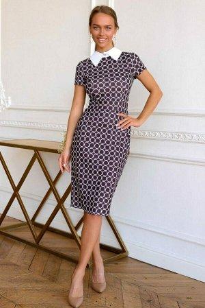 Платье Платье с симметричным рисунком удивляет воображение. Его фишка именно в игре принта и его сочетании с классическим белым воротничком на пуговке. Смотрится очень стильно и женственно. Идеально с