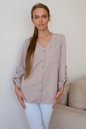 Рубашка Классика всегда в моде! Модель 4810 выполнена в нежном оттенке нюд и прекрасно подойдёт для офиса и праздничных мероприятий. Рукав можно сделать короче с помощью петли, которая крепится у локт