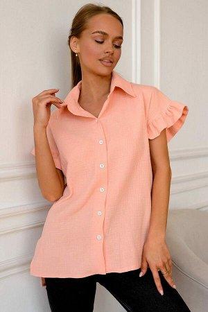 Рубашка Идеальный летний вариант – хлопковая рубашка, нежного персикового оттенка. Состав 100% хлопок. Воздушный, фактурный муслин очень комфортный, подарит чувство свежести и лёгкости. Широкий, корот