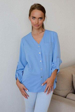 Рубашка Красивая и стильная рубашка является частью базового гардероба. Модель 4801 очень оригинальна и создаёт лаконичный, классический образ для офиса. Приятный небесный оттенок материала, рукава мо