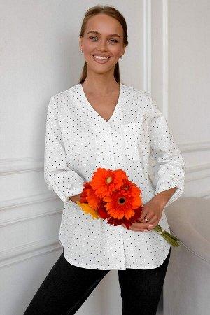 Рубашка Романтичный горошек модели прекрасно встраивается в любой стильный образ. Ткань Турция, 100% хлопок. Рубашка идёт размер в размер. Рукав можно укоротить, застегнув на небольшую пуговицу у локт