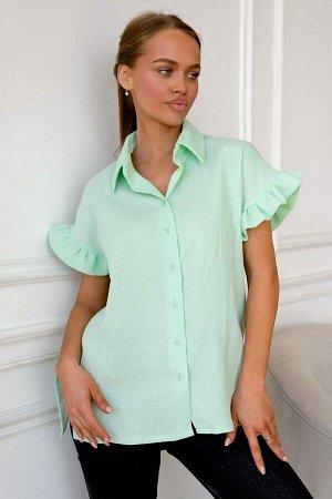 Рубашка Освежающий мятный оттенок летней рубашки охлаждает и дарит свежесть знойным летним днём. 100% хлопок дышит, телу невероятно комфортно. Материал экологичен и мягок. Свободная посадка и широкий