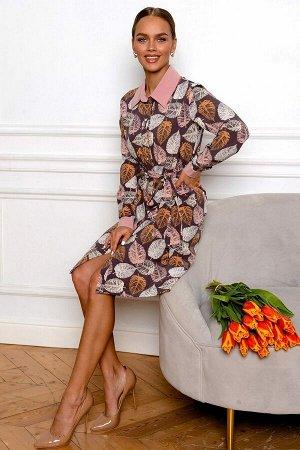 Платье Необычное платье для мечтательных представительниц прекрасного пола. Принт с осенними листочками подходит не только для сентябрьских прогулок, он актуален и весной, в сочетании с весенним пальт