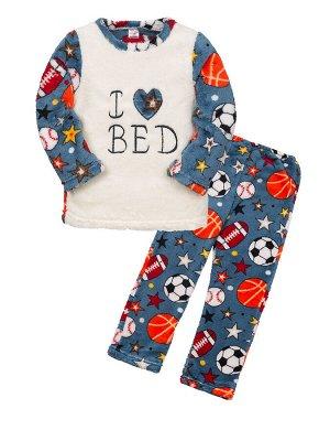 """Пижамы для мальчиков """"I love bed game"""" (Темно-голубой"""