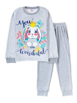 "Пижамы для девочек ""Moon grey"" (Серый меланж"