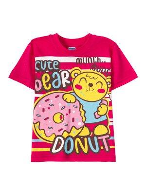 Футболки для девочек Bear donut crimson (Малиновый