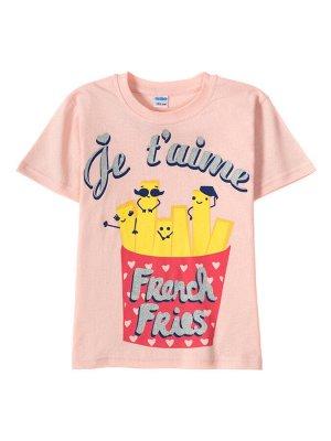 Футболка для девочки French fries (Пудра