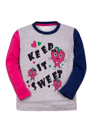 "Лонгсливы для девочек ""Keep it sweet"" (Малиново-синий"