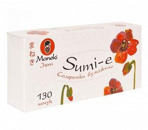 """Салфетки бумажные """"Maneki"""", серия Sumi-e, 2 слоя, белые, 130 шт./коробка"""