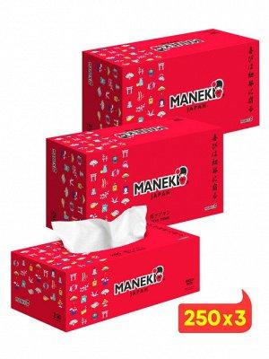 """Салфетки бумажные """"Maneki"""" RED, 2 слоя, белые, 250 шт./коробка (1/54)"""