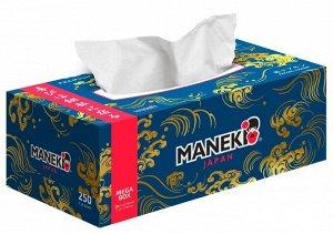 """Салфетки бумажные """"Maneki"""" OCEAN, 2 слоя, белые, 250 шт./коробка (1/54)"""