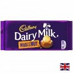 Cadbury Dairy Milk Wholenut 200g - Британский шоколад Кэдбури с цельным фундуком