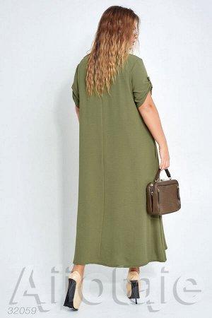Льняное платье макси со скрытыми карманами