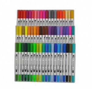 Аквамаркеры Dual Art Marker двусторонние кисточка и линер. 60 цветов