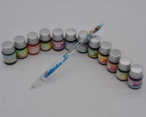 Ручка-перо стеклянная в венецианском стиле, набор 13 предметов