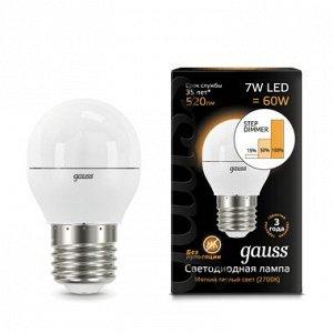 Лампа Gauss LED Globe E27 7W 3000K step dimmable