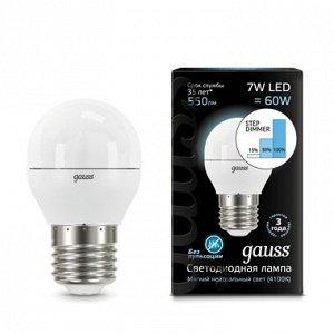 Лампа Гаусс LED Globe E27 7W 4100K step dimmable