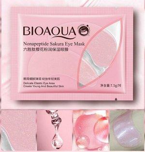 Коллагеновые патчи для глаз BIOAQUA с экстрактом цветка сакуры Nonapeptide Sakura