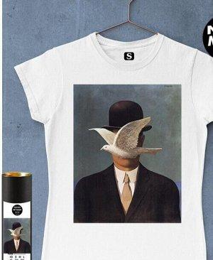 Женская футболка для девушки с картиной Человек в котелке, цвет белый