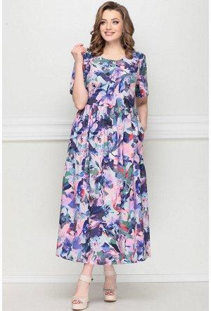 Платье Lenata 13025 фиолетовые цветы