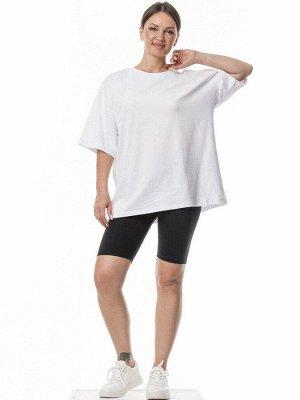 Комплект велосипедки с футболкой оверсайз. Цвет черный+белый