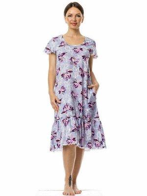 """Платье с воланом """"Водяные лилии"""". Цвет водяные лилии"""