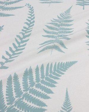 """Поплин """"Крупные листья папоротника (цв.мятная дымка) на белом"""", ш.2.2м, хлопок-100%, 115гр/м.кв"""