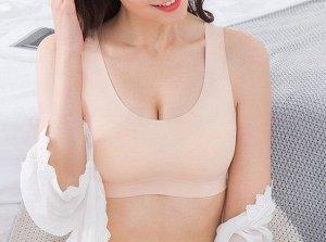 Женский топ-бюстгальтер, с широкими лямками, цвет телесный