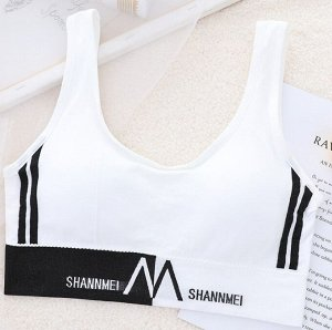 """Женский спортивный топ, надпись """"Shannmei"""", цвет белый"""