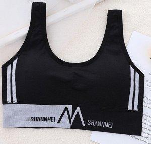 """Женский спортивный топ, надпись """"Shannmei"""", цвет черный"""