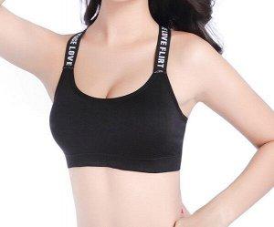 Женский спортивный топ, c надписями на лямках, цвет черный