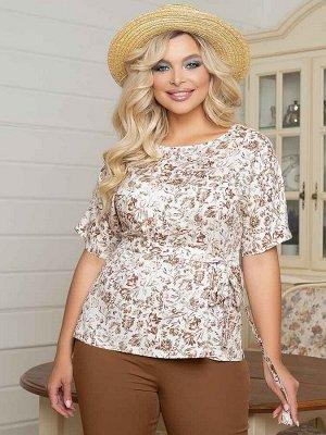 """Блузки Блузка прямого силуэтаиз вискозной тканис принтом """"цветы"""" . - горловина оформлена круглым вырезом - короткие цельнокроеные рукава - низ ровный, с разрезами в боковых швах - без застежек - поя"""