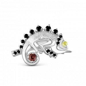 Брошь из серебра с фианитами родированная - Хамелеон 4-5545р21505