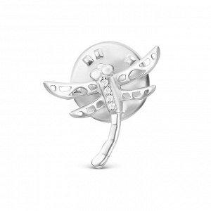 Значок из серебра с фианитами родированный - Стрекоза 461-10-257р