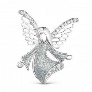 Брошь из серебра с эмалью и фианитами - Ангел Бр-072р1э200