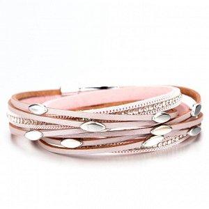 Кожаный многослойный браслет